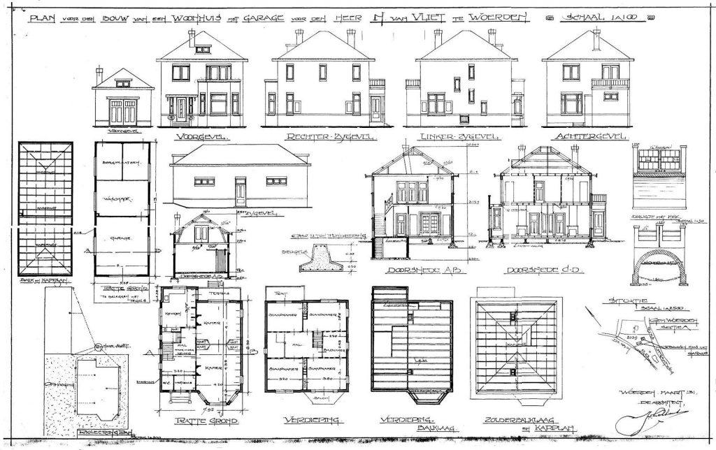 digitalisering tekeningen oude bouw tekening huis woerden bestaand