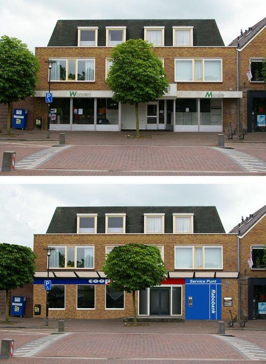 voorbeeld: foto bewerken gevel winkel oude en nieuwe situatie